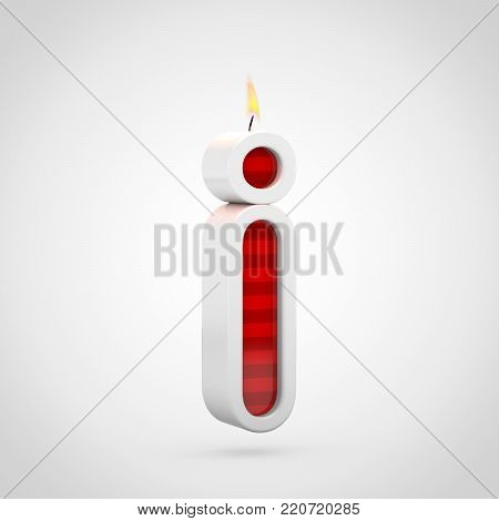 Birthday Candle Letter I Lowercase Isolated On White Background.