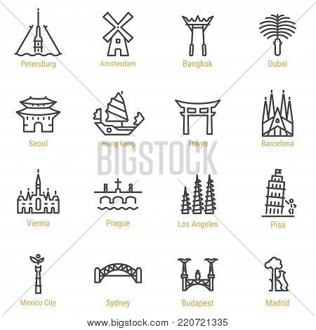St. Petersburg - Amsterdam - Bangkok - Dubai - Seoul - Hong Kong - Tokyo - Barcelona - Vienna - Prague - Los Angeles - Pisa - Mexico City - Sydney - Budapest - Madrid Line Icons - Landmarks - Sights.