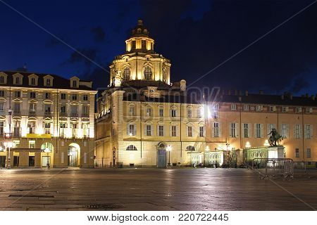 Piazza Castello and Church of San Lorenzo at night, Turin, Italy
