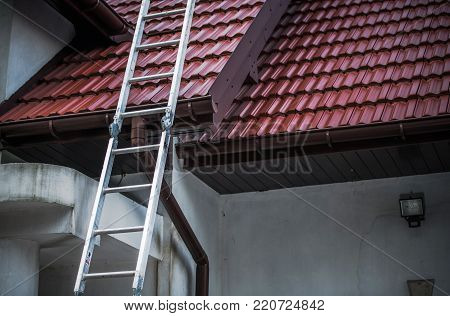 Ceramic Roof Tiling. Roofing Construction Theme. Roof Tiles