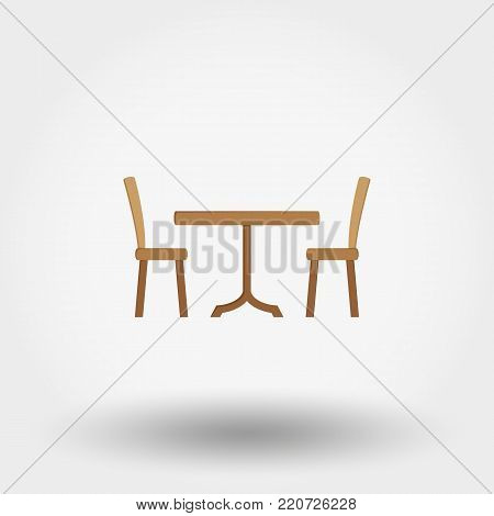 Dining table with chairs. Icon for web and mobile application. Vector illustration on a white background. Flat design style