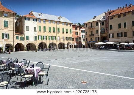 Finale Ligure, Liguria, Italy - May 21, 2009: Piazza Vittorio Emanuele II in Finale Ligure Italy