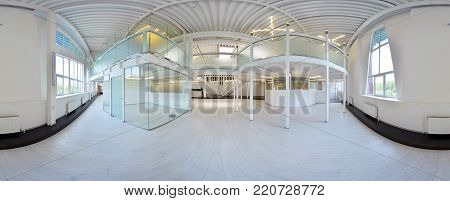 Spherical 360 Degrees Panorama Projection, Panorama In Interior Empty Corridor Room In Light Colors