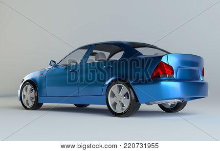 A CG render of a generic luxury blue sedan. 3d illustration