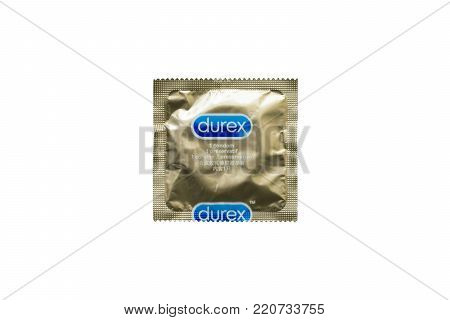 Nitra, January 5, 2018: Durex condom isolated on white. Durex is the trademarked name for a range of condoms that were made by United Kingdom-based SSL International.