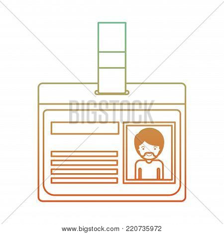 identification card with half body man picture with short hair and van dyke beard in degraded green to red color contour vector illustration