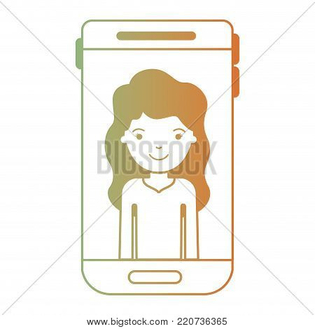 smartphone woman profile picture with long wavy hair in degraded green to red color silhouette vector illustration