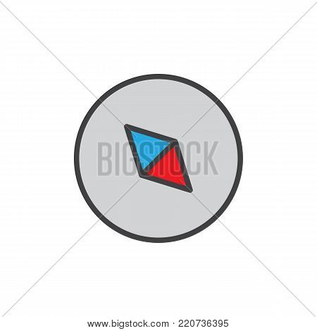 Compass filled outline icon, line vector sign, linear colorful pictogram isolated on white. Navigation arrow symbol, logo illustration. Pixel perfect vector graphics