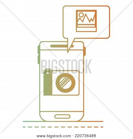 smartphone photo app and dialogue box in degraded green to red color silhouette vector illustration