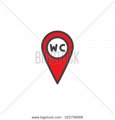 WC Toilet location filled outline icon, line vector sign, linear colorful pictogram isolated on white. Restroom or lavatory map pointer symbol, logo illustration. Pixel perfect vector graphics