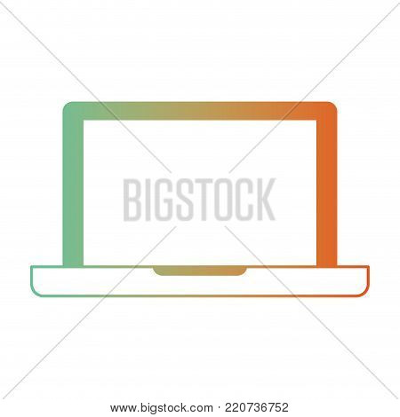 laptop computer icon in degraded green to red color silhouette vector illustration