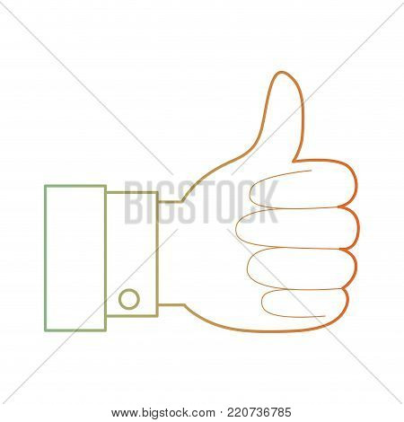 hand thumb up icon in degraded green to red color silhouette vector illustration