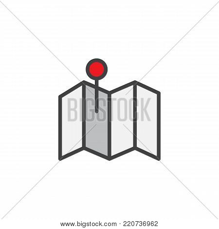 Pin on map filled outline icon, line vector sign, linear colorful pictogram isolated on white. City map with location mark symbol, logo illustration. Pixel perfect vector graphics