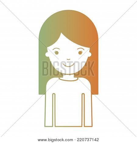 half body woman with long straight hair in degraded green to red color silhouette vector illustration