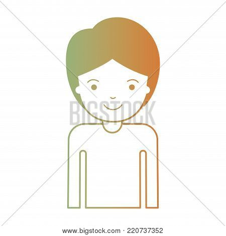 half body guy with short hair in degraded green to red color silhouette vector illustration