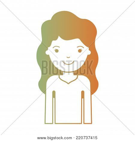 half body woman with long wavy hair in degraded green to red color silhouette vector illustration