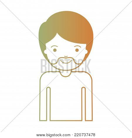 half body man with short hair and van dyke beard in degraded green to red color silhouette vector illustration