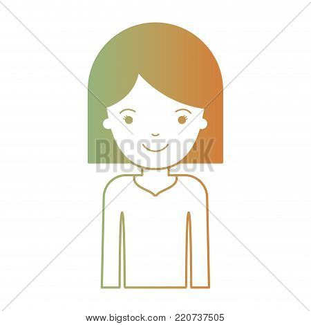 half body woman with hair middle length in degraded green to red color silhouette vector illustration