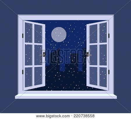 Night out the window. Opening window with night sky. Winter night. Vector stock.
