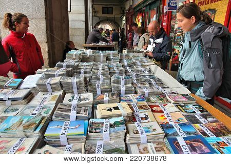 Madrid, Spain - October 21, 2012: Shoppers Visit Sunday Collectible Market In Plaza Mayor, Madrid. T