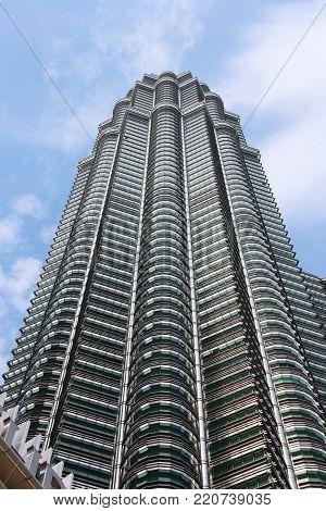 Kuala Lumpur, Malaysia - March 29, 2009: Petronas Towers Skyscraper In Kuala Lumpur, Malaysia. Petro