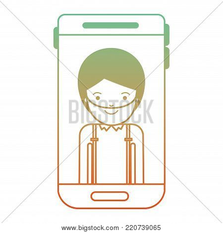 smartphone man profile picture with short hair and beard in degraded green to red color silhouette vector illustration