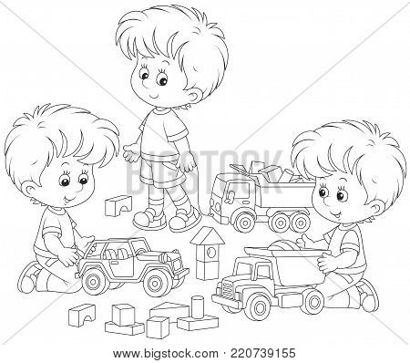 Little boys playing with toy cars and bricks, a black and white vector illustration for a coloring book