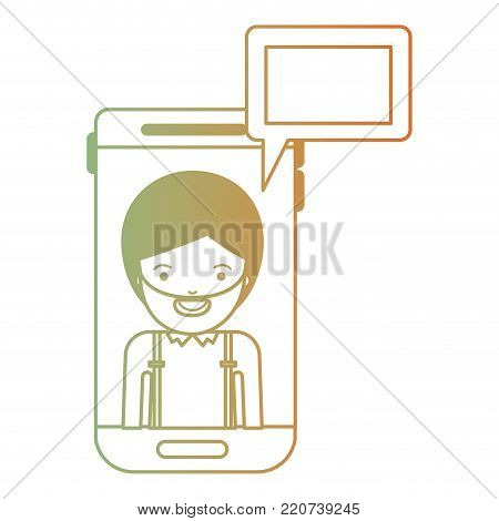 man social network smartphone screen dialogue in degraded green to red color silhouette vector illustration