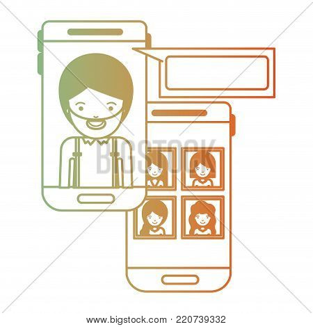 man and group social network chat in smartphone in degraded green to red color silhouette vector illustration
