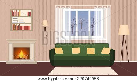 Living room interior with fireplace, sofa, lamps and bookshelf. Domestic room design at evening with burning fire and window. Vector illustration.