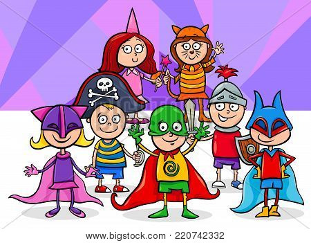 Kids Group At Mask Ball Coloring Book