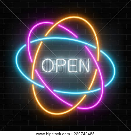 Neon open 24 hours in circle frames like planetary model sign on a dark brick wall background. Round the clock working bar or night club signboard. Vector illustration.