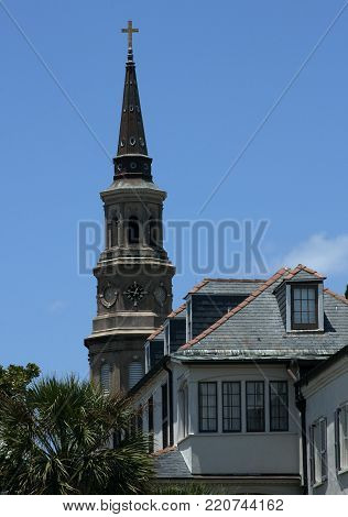 A view of the majestic steeple of St. Philip's church in historic downtown Charleston, South Carolina
