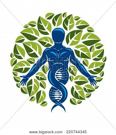 Vector individual, mystic character deriving from DNA strands and made with eco tree leaves. Recycling and reuse concept, renewable resources idea.