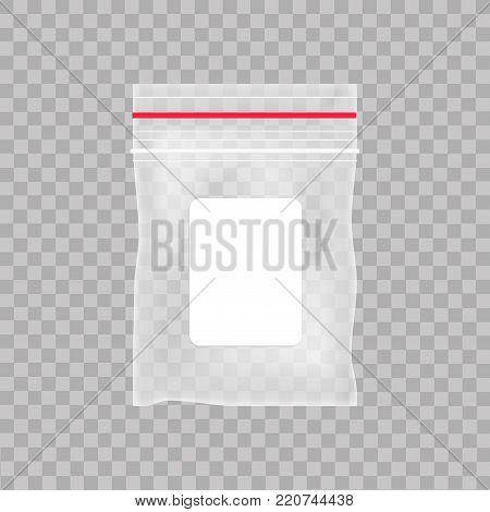 Empty transparent plastic pocket bag. Blank vacuum zipper bag  on the transparent background. Vector illustration.
