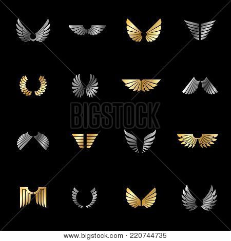 Freedom Wings emblems set. Heraldic Coat of Arms decorative logo isolated vector illustrations collection.