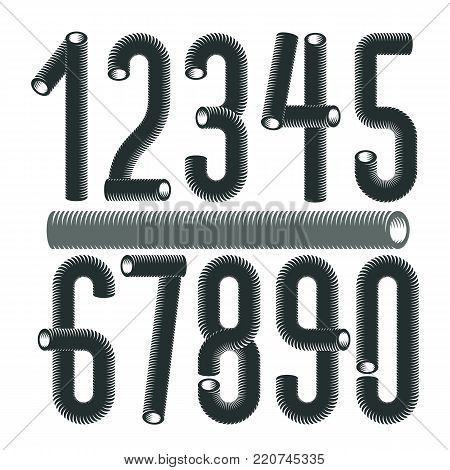 Trendy vector numerals collection. Modern funky numbers from 0 to 9 best for use in logo, poster creation. Made with industrial hose, 3d cylinder tube design.