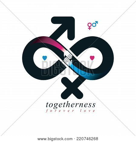 Eternal Couple conceptual logo, vector symbol created with infinity sign and male Mars an female Venus signs. Relationship idea.