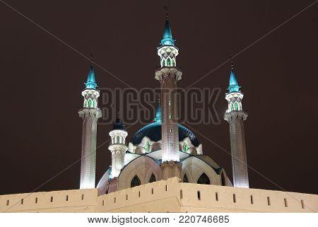 Kul Sharif (Qolsherif, Kol Sharif, Qol Sharif) Mosque in Kazan Kremlin on a winter night. Main Jama Masjid in Republic of Tatarstan. One of the largest mosques in Russia. Backlight.