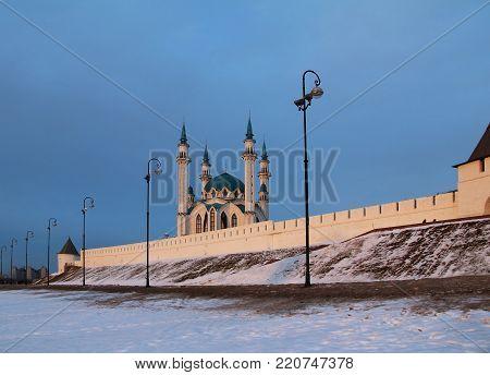 Kul Sharif (Qolsherif, Kol Sharif, Qol Sharif) Mosque in Kazan Kremlin on a winter evening. Main Jama Masjid in Republic of Tatarstan. One of the largest mosques in Russia.