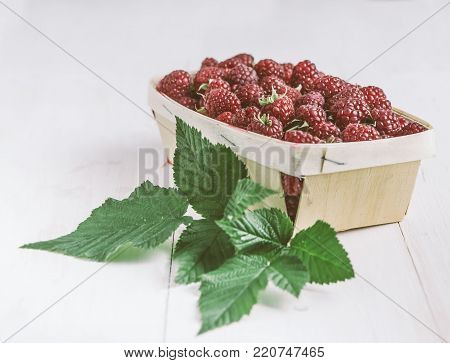 Collected raspberries in a basket. Side view.