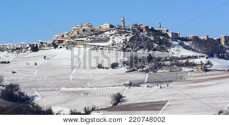 View Of Langhe Vineyards Hills With Snow Piedmont Italy