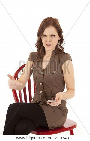 Woman On Red Chair Text Mad