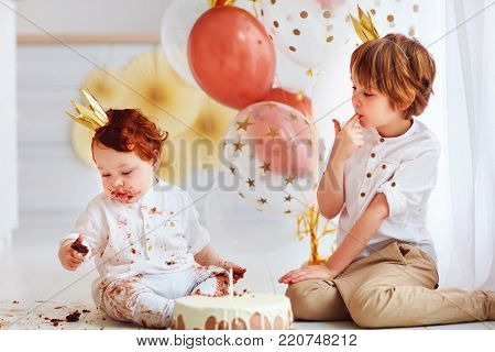 Cute Kids, Brothers Tasting Birthday Cake On 1St Birthday Party