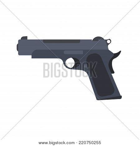 Pistol gun vector revolver isolated handgun illustration weapon white. Military war firearm black icon old
