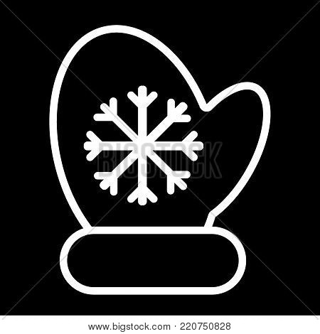 Mitten icon vector line illustration. mitten with snowflake element. Christmas symbol. Outline flat illustration.