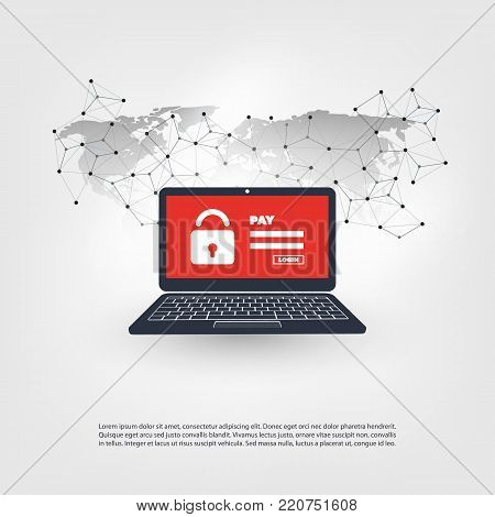 Network Vulnerability, Locked Device, Encrypted Files, Lost Documents, Ransomware Attack - IT Security Concept, Vector illustration