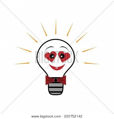 Vector light bulb, symbol of heart , symbol of innovation and good ideas. Colorful postcard with Valentine s Day.