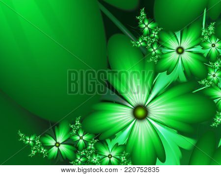 Fractal floral image, digital artwork for creative graphic design, template for inserting text.Template with place for text.