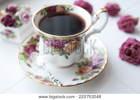 English morning time porcelain tea cup rose
